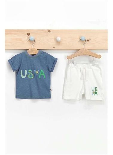 U.S. Polo Assn. Lisanslı Açık Indigo Erkek Bebek T-Shirt Takım İndigo